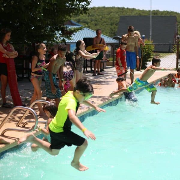 Swimming pool games for kids at the best Christian summer camp Shepherd's Fold Ranch.