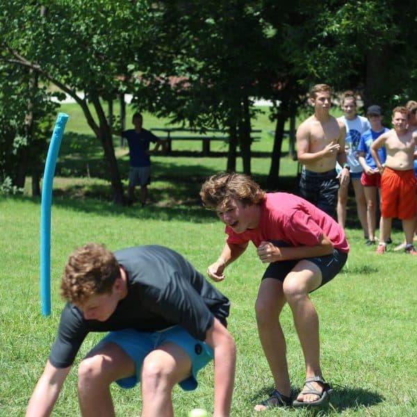 Outdoor youth dodge ball at summer camp near Tulsa.