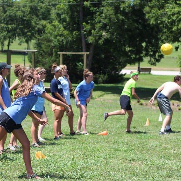 Outdoor youth dodge ball at summer camp near Tulsa