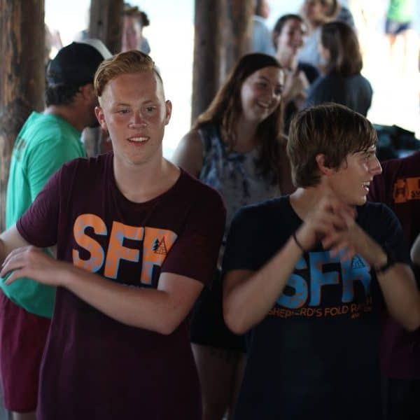 WACKO with Teen leaders at summer bible camp Shepherd's Fold Ranch